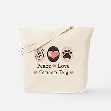 Peace Love Canaan Dog Tote Bag