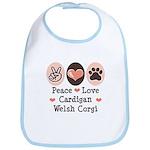 Peace Love Cardigan Welsh Corgi Bib