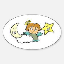 ANGEL w MOON & STAR Oval Decal