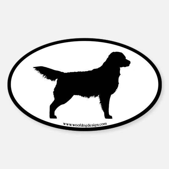 Golden Retriever Oval ( blk border) Oval Decal