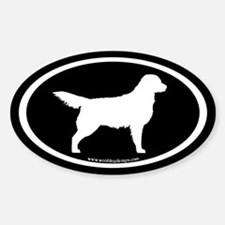 Golden Retriever Oval (wht on blk) Oval Decal