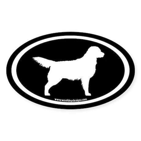 Golden Retriever Oval (wht on blk) Oval Sticker