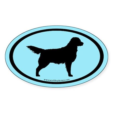 Golden Retriever Oval (blk on blue) Oval Sticker