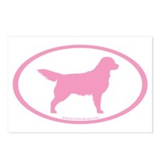 Pink Golden Retriever Oval Postcards (Package of 8