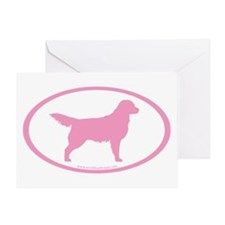 Pink Golden Retriever Oval Greeting Card