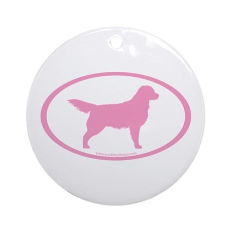 Pink Golden Retriever Oval Ornament (Round)