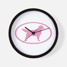 Pink Golden Retriever Oval Wall Clock