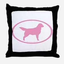 Pink Golden Retriever Oval Throw Pillow