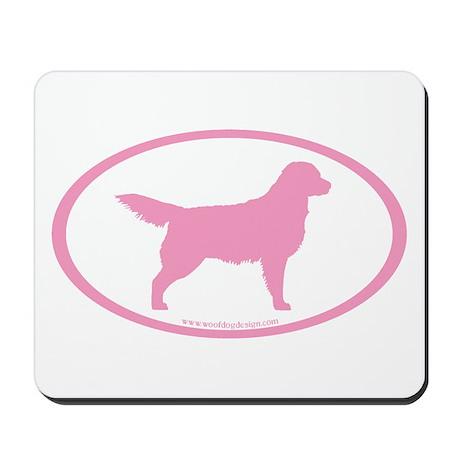 Pink Golden Retriever Oval Mousepad