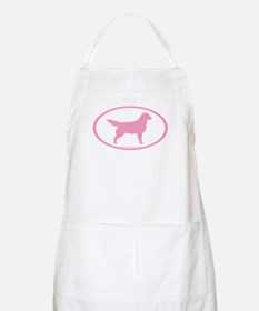 Pink Golden Retriever Oval BBQ Apron