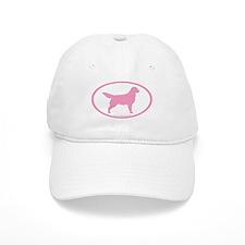 Pink Golden Retriever Oval Baseball Cap