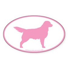 Pink Golden Retriever Oval #3 Oval Decal