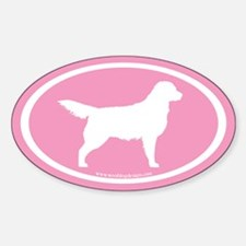 Pink Golden Retriever Oval #2 Oval Decal