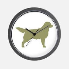 Sage Golden Retriever Wall Clock