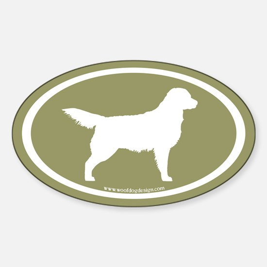 Sage Golden Retriever (wht on sage) Oval Decal