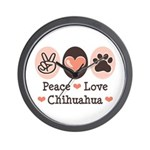 Peace Love Chihuahua Wall Clock