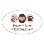 Peace Love Chihuahua Oval Sticker
