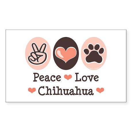 Peace Love Chihuahua Rectangle Sticker