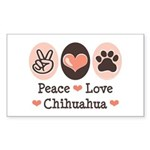 Peace Love Chihuahua Rectangle Sticker