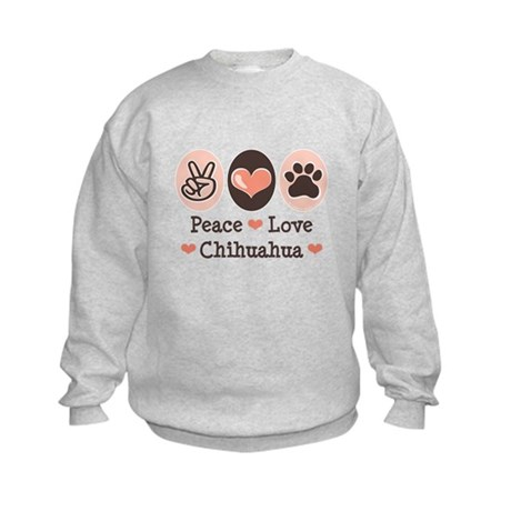 Peace Love Chihuahua Kids Sweatshirt