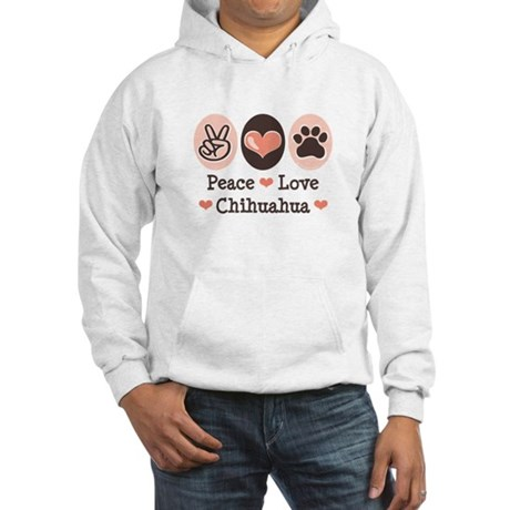 Peace Love Chihuahua Hooded Sweatshirt