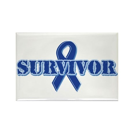 Blue Ribbon Survivor Rectangle Magnet