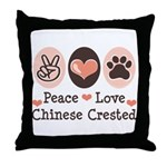 Peace Love Chinese Crested Throw Pillow