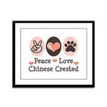 Peace Love Chinese Crested Framed Panel Print