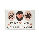 Peace Love Chinese Crested Rectangle Magnet (10 pa