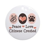 Peace Love Chinese Crested Ornament (Round)