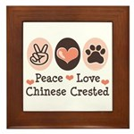 Peace Love Chinese Crested Framed Tile