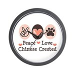Peace Love Chinese Crested Wall Clock