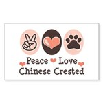 Peace Love Chinese Crested Rectangle Sticker