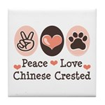 Peace Love Chinese Crested Tile Coaster