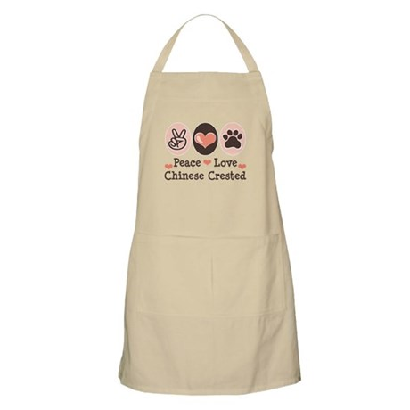 Peace Love Chinese Crested BBQ Apron
