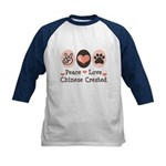 Peace Love Chinese Crested Kids Baseball Jersey