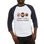 Peace Love Chinese Crested Baseball Jersey