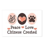 Peace Love Chinese Crested Postcards (Package of 8