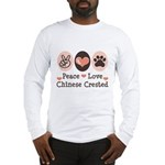 Peace Love Chinese Crested Long Sleeve T-Shirt