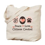 Peace Love Chinese Crested Tote Bag