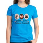 Peace Love Chinese Crested Women's Dark T-Shirt