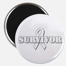 """White Ribbon Survivor 2.25"""" Magnet (100 pack)"""