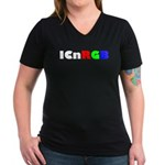 ICnRGB Women's V-Neck Dark T-Shirt