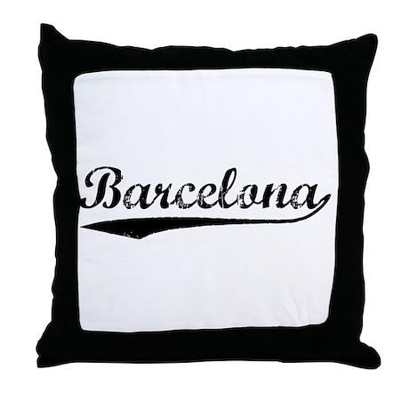 Vintage Barcelona (Black) Throw Pillow