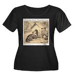 Forgotten Women's Plus Size Scoop Neck Dark T-Shir