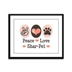 Peace Love Shar Pei Framed Panel Print
