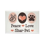 Peace Love Shar Pei Rectangle Magnet (10 pack)