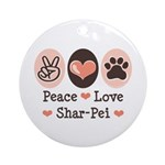 Peace Love Shar Pei Ornament (Round)