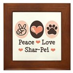 Peace Love Shar Pei Framed Tile