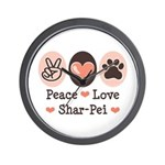 Peace Love Shar Pei Wall Clock